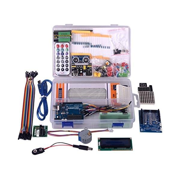 51UdZP802vL. SS600  - Kuman Más Completo y Avanzado de Arduino Mega Starter Kit para Arduino Uno R3 con Guías Tutorial Detallada, MEGA2560, Mega328,5V Motor Paso a Paso, Kit Arduino con Placa