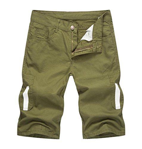 Preisvergleich Produktbild ZEZKT-Herren Cotton Sweat Short - Kurze Hose Bermuda Sweatpant Regular Fit Chinoshorts Jogginghose Mit Melierung Denim Hose Mit Destroyed (M,  Grün)