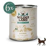 Wildes Land   Nassfutter für Hunde   Bio Ente   6 x 800 g   Getreidefrei & Hypoallergen   Extra hoher Fleischanteil von 60%   100% zertifizierte Bio-Zutaten Akzeptanz und Verträglichkeit