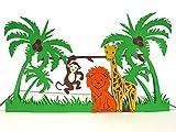 3D Geburtstagskarte für Kinder - bunte Tiere im Dschungel: Löwe, Giraffe & Affe - Handgefertigte Klappkarte mit Umschlag, Pop-Up 3D-Karte zum Geburtstag