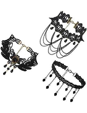 JewelryWe Schmuck 3 PCS Choker Halsband Halskette Set Schwarz Stretch Samt Classic Gothic Quasten Tattoo Spitze...