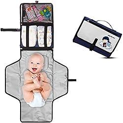 Cambiador Portátil de Pañales para Bebé - Kit Cambiador de Viaje - Completamente Acolchado - Esterilla Lavable de Quita y Pon - Para Usar Fuera de Casa - Perfecto como Regalo ! - Baby Dream
