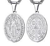 VREELANT Collar 45 cm con Medalla San Benito Acero Inoxidable