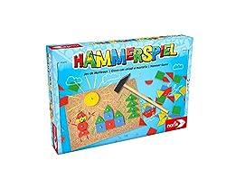 Noris - Hammerspiel, Lern- und Geschicklichkeitsspiel mit 50 bunten Holzbauteilen in verschiedenen Formen, für Kinder ab 4 Jahren