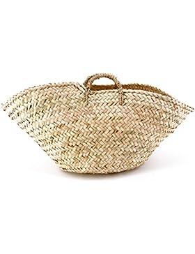 Rouven / Hedda Wave Palm Basket Tote Korb Bag / Beige / Ibiza Boho Korbtasche Bastkorb Basttasche Tasche Handtasche...