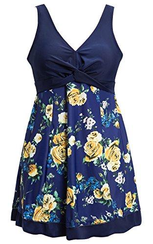 Ecupper Damen Badekleid Gepolstert Badeanzug mit Shorts Einteiler Blumen Muster Schwimmkleid Große Größen Navy Blumen 4XL -