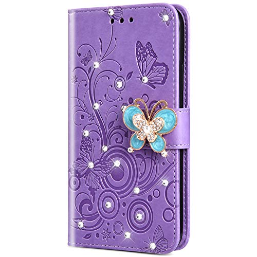 Urhause PU Leder Hülle Flip Cover Wallet 3D Ledertasche Schmetterling Kristall Strass Glitzer Leather Brieftasche Handytasche Klapphülle Lederhülle Kompatibel mit Huawei Honor 9,Lila