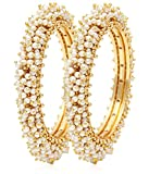 #9: YouBella Jewellery Gold Plated Pearl Studded Bracelet Bangles Set For Women and Girls