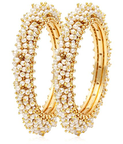 YouBella Jewellery Traditional Pearl Studded Gold Plated Bangles for Women and Girls