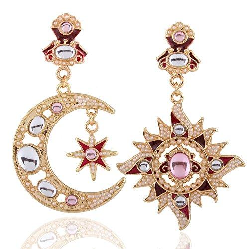 ANLW Sonne und Mond Asymmetrisch Ohrringe,Damen Ohrstecker, Geschenk Für Frauen Freundin Tochter