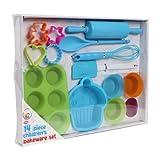 Nuevo We Can Cook para niños azul 14 piezas Molde de horno para niños juego de Kit de utensilios de cocina para niños