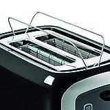 AEG AT3300 Perfect Morning Doppelschlitz-Toaster (integrierter Brötchenaufsatz, Staubschutz-Deckel, 7-stufige Bräunungsgrad Einstellung, Brötchenaufback-Funktion, Stopp-, Auftau- & Aufwärmknopf, Sensorelektronische Röstzeitsteuerung, Wärmeisolierte Cool-Touch-Gehäuse) Schwarz / Silber - 2