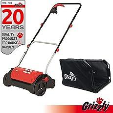 Grizzly Elektro Vertikutierer ES 1231 - Elektrischer Rasen Vertikutierer, Belüfter mit 1200 Watt Motor, 31 cm Arbeitsbreite und klappbaren Griff - zur Garten und Rasenpflege