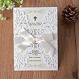 Hosmsua 20 x weiß Laser geschnitten Flora Spitze Hochzeits Einladungskarten mit Umschläge für Bridal Dusche Verlobung Geburtstag Baby Dusche (Set 20 Stück)