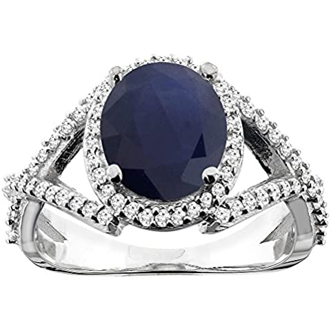 Revoni 14 K, colore: bianco/giallo/oro rosa, lunghezza anello ovale con zaffiro di Ceylon, 9 x 7 mm, taglio diamantato - Ceylon Sapphire
