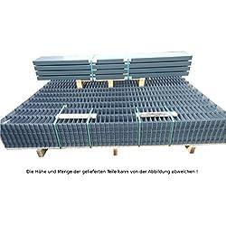 20 Meter Doppelstabmattenzaun Zaunanlage Gartenzaun / Komplettpaket in RAL 7016 Anthrazitgrau Höhe 203cm/ Maschenweite: 50/200mm / Drahtstärke: 6/5/6 mm / Komplettpaket (Zaunfelder/Pfosten/Befestigungsmaterial)