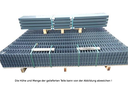 10 Meter Doppelstabmattenzaun Zaunanlage Gartenzaun / Komplettpaket in RAL 7016 Anthrazitgrau Höhe 163cm/ Maschenweite: 50/200mm / Drahtstärke: 6/5/6 mm / Komplettpaket