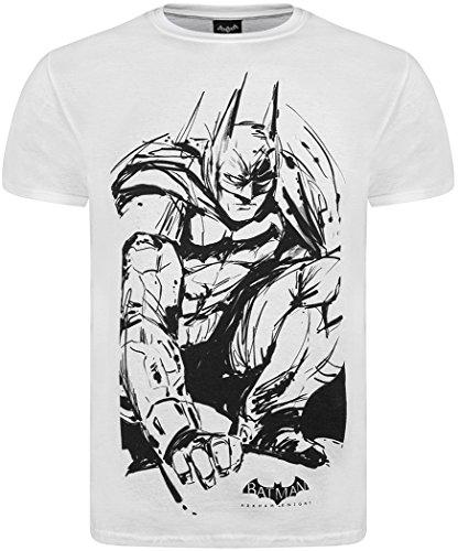 Oficial de Batman Arkham Knight 'Batman esbozo de camisetas blanco blanco X-Large