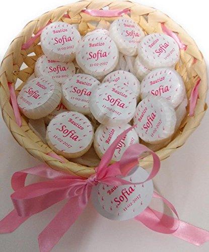 Cestito rosa, oro o azul, con 25 jabones personalizados para boda.bautizo...