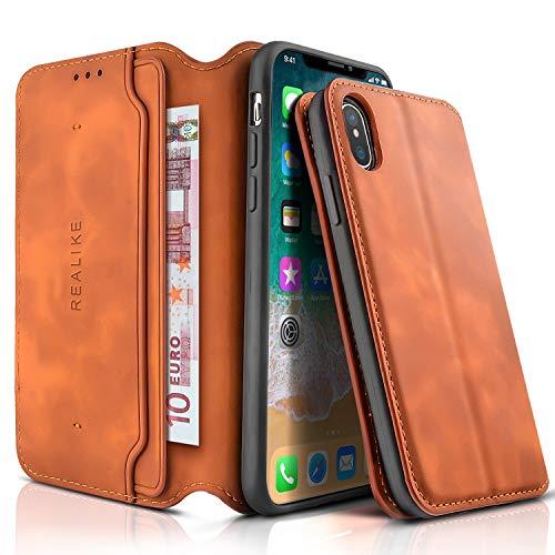 REALIKE Telefon Hülle Kompatibel mit iPhone X iPhone XS Leder Flip Brieftasche Schutzhülle für iPhoneX/Xs (5.8