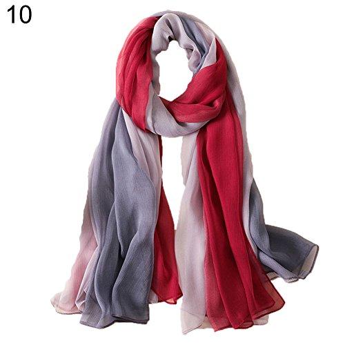 Bbl345dLlo Damen Strandtuch Schal, Mode Frauen weichen Schal lange Wraps Color Block Krepp Schal Strandtuch 10# -