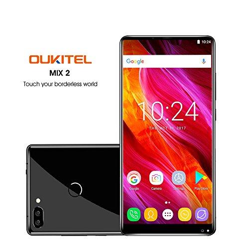 Oukitel Mix 2 Handy ohne Vertrag (5.99 Zoll )Smartphone (18:9 Verhältnis Vollbild) 6GB RAM 64GB ROM 4080mAh Batterie-Schwarz
