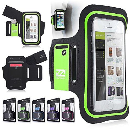 CaseiLike ® Verde, EXslimmer 9928, Dual-Slot Sport Armband con carta di credito / ID e Key slot Holder per Apple iPhone 5 5G 5S 5C 4 4S 4G 4GS 3 3G 3GS
