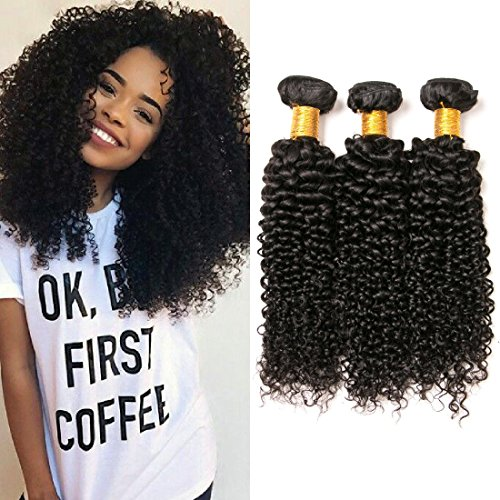 HH&NATUE Brazilian Kinky Curly Hair 8a Grade tressen Extensions 3 Bundles Weave Curly Human Hair Waves Virgin haarverlängerung Unprocessed Nutural Hair(12 14 16 inches) -