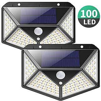Luce Solare LED Esterno,【270°Angolo Illuminazione-2 Pezzi】100LED Lampada Solare con Sensore di Movimento Luci Esterno Energia Solare 3 modalità Lampade Solari Impermeabile per Giardino,Parete