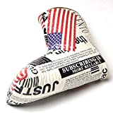 GOOACTION 1pcs Stars and Stripes American Flag Putter Golf Club Head Covers Synthetic Leather Water-Proof Universal Thick Creative with Easy Lock-in Design Golf Head Covers Fit for All Golf Brands