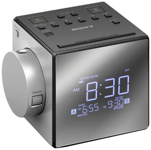 Sony ICF-C1PJ - Radio Despertador con proyector de Tiempo (LCD, CR2032, Plata)