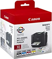 Canon PGI-2500XL BK/C/M/Y 70.9ml 2500pages Black, Cyan, Magenta, Yellow ink cartridge - Ink Cartridges (Black, Cyan, Magenta, Yellow, MAXIFY iB4050 MAXIFY MB5050 MAXIFY MB5350, Inkjet, High (XL) Yield, 70.9 ml, 2500 pages)
