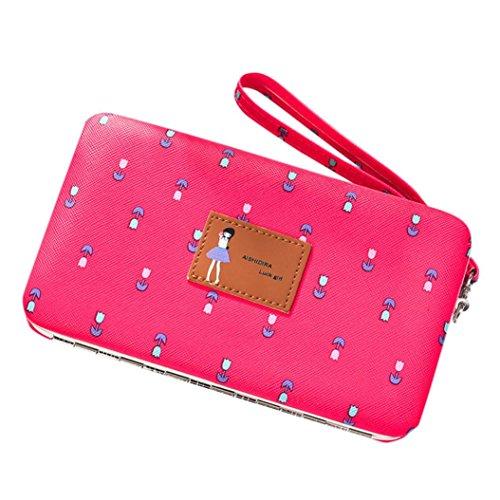 Portafoglio Donna, Tpulling Portafoglio multifunzionale del portafoglio floreale della borsa lunga della pelle di cuoio delle donne (Brown) Hot pink
