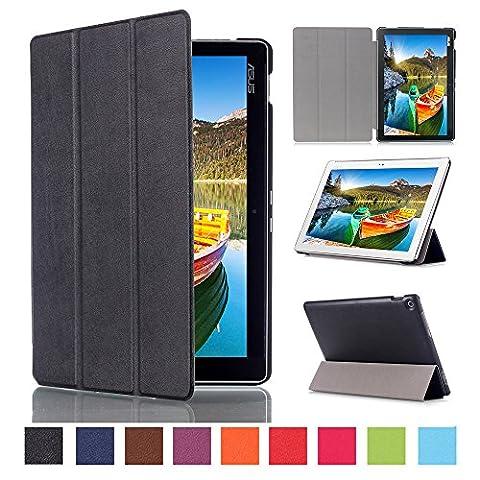WindTeco Étui ASUS ZenPad 10 Z301MFL / Z2301ML / Z300M / Z300C - Etui Housse Ultra Mince et Léger à Rabat avec Support et Fonction Réveil / Sommeil Automatique pour Tablette ASUS ZenPad 10 Z301MFL / Z2301ML / Z300M / Z300C / Z300CG / Z300CL 10.1 Pouces, Noir