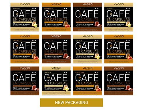 VIAGGIO ESPRESSO - 120 Cápsulas de Café Compatibles con Máquinas Nespresso - SABORIZADOS