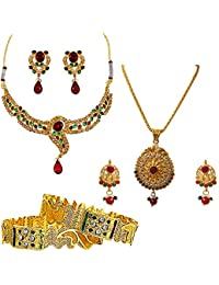 Surat Diamonds Ethnic Indian Motif Red-Green Coloured Stone & Gold Plated Pendant Necklace Earring Set & Bangles...