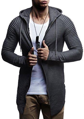 LEIF NELSON Herren Sweatjacke Pullover Hoodie Kapuzenpullover Longsleeve Biker Jacke Gesteppter Langarm Basic Sweatshirt