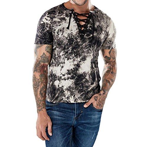 Mode Männer Casual Tie-Dye Kurzarm T-shirt Persönlichkeit Dünne Öse Verband Tops (Kaffee, S)