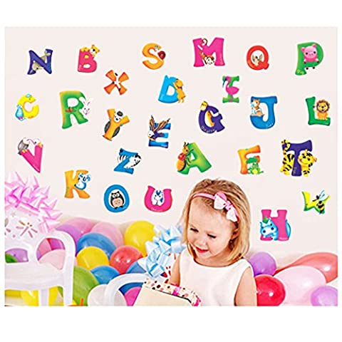 HENGSONG Colorful Removable English Alphabet Words Animal Stickers Baby Early Learning Toys