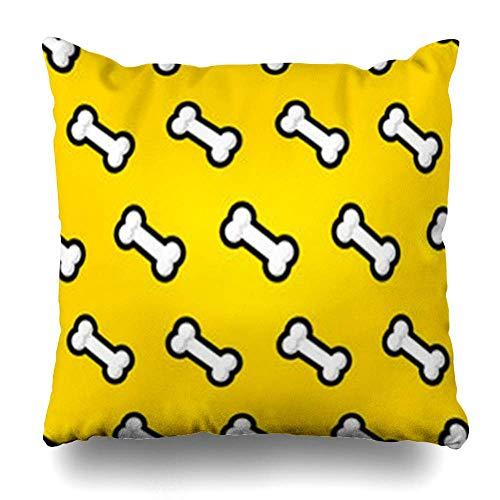 Klotr Kissenbezugs Wildlife Brown Paw Dogs Food Bone Line Pattern Crisp On Yellow Bowl Flat Plastic Eat Dog Dry Pillowcase Square Size 18 X 18 Inches Home Decor Cushion Cases -