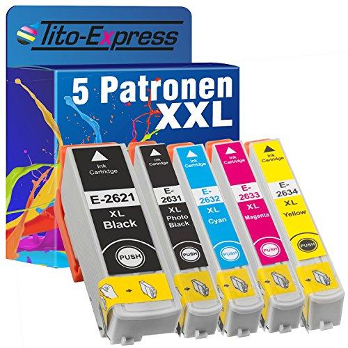 PlatinumSerie® Sparset 5 Tintenpatronen XXL kompatibel für Epson TE2621 TE2631 TE2632 TE2633 TE2634 Expression Premium XP-510 XP-520 XP-600 XP-600 Series XP-605 XP-610 XP-610 Series XP-615