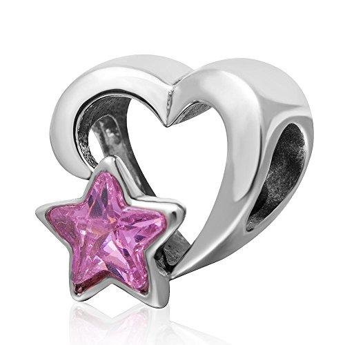 Soulbead San Valentino Cuore rosa con charm a forma di stella in argento Sterling 925con zirconia cubica, per 3mm braccialetto europea