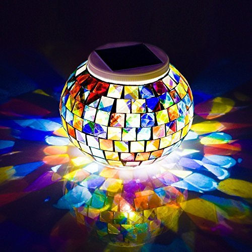 Avril Tian Mosaic Boule en Verre Lumière Solaire Jardin Lampe de Bureau, à Changement de Couleur Solaire Night Lights, Lampe de Lampes de Table Rechargeable étanche pour ou à l'extérieur Décorations