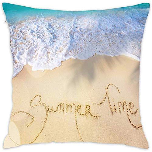 DayToy Kurze Plüsch SoftSquare Throw Kissenbezug Kissenbezug Kissenbezug für Schlafzimmer Auto (Summer Time Beach Sand Sea Shore Waves)