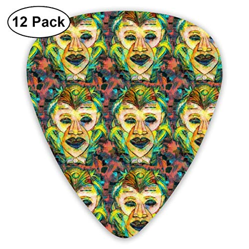 80 Medium Natural (MEDIUM WISE AND SERIOUS TIKI TRIBAL MASK_2380 Classic Celluloid Picks, 12-Pack, For Electric Guitar, Acoustic Guitar, Mandolin, And Bass)