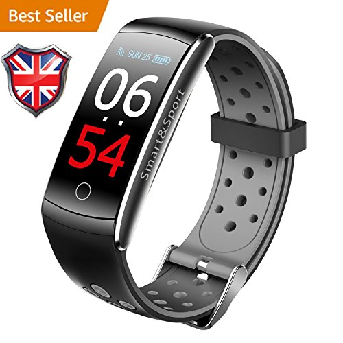 iSmart fitness tracker, 2018iSmart orologio pressione cardiofrequenzimetro, IP68impermeabile Activity Tracker braccialetto intelligente per iOS Android, Z11C–colore grigio