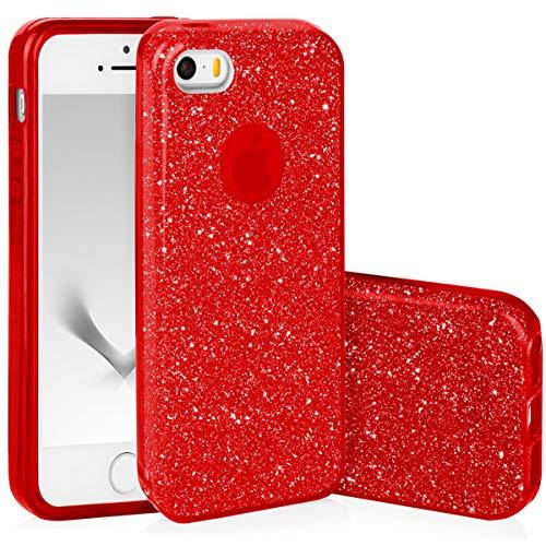 QULT Handyhülle kompatibel mit iPhone 5S iPhone SE iPhone 5 Hülle Glitzer Rot glänzend Silikon Tasche TPU Case Bumper mit Glitter Design Sparkles Red (EINWEG) (Iphone 5s Case-tasche Für Frauen)
