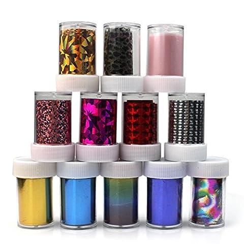 Arpoador 12couleurs Starry Sky étoiles Nail Art Stickers Conseils Wraps Foil Transfert adhésif Glitters Acrylique Décoration DIY