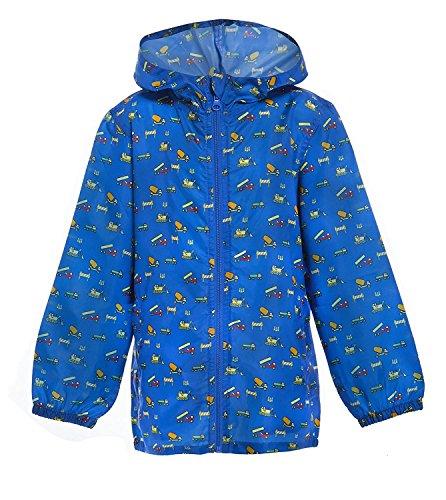 Boys Hooded Printed Raincoat Toddlers Novelty Kagool Kag Waterproof Rain Coat (Blue Tractors, 4-5 YEARS)