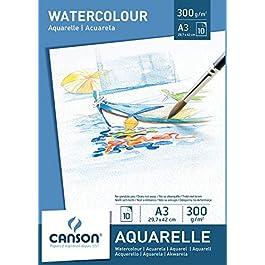 Canson 200005790 – Blocco carta Acuarela, A3, 300 g/m², 10 fogli, Bianco